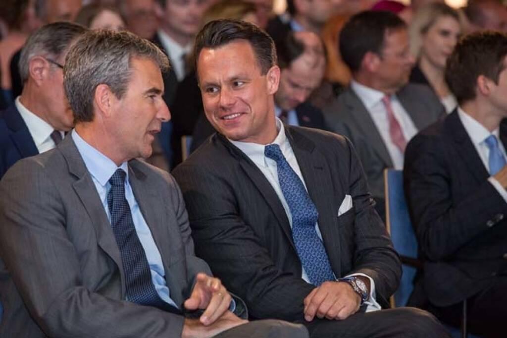 Finanzminister Hartwig Löger, Börse-Chef Christoph Boschan, Credit: APA-Fotoservice, © APA-Fotoservice/Wiener Börse (22.05.2018)
