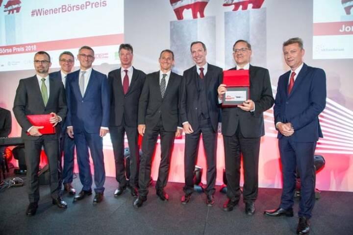 Wiener Börse Preis, Journalistenpreis, Erste Group, voestalpine und Sieger Flughafen Wien, Credit: APA-Fotoservice