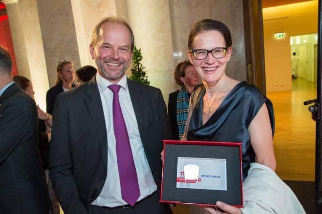 AT&S-CEO Andreas Gerstenmayer, Immofinanz-IR-Chefin Bettina Schragl, Credit: APA-Fotoservice, © APA-Fotoservice/Wiener Börse (22.05.2018)