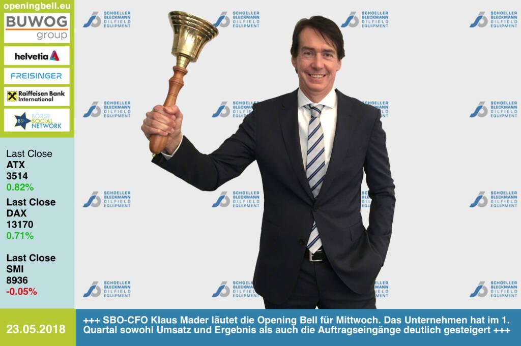 23.5.: SBO-CFO Klaus Mader läutet die Opening Bell für Mittwoch. Das Unternehmen hat im 1. Quartal sowohl Umsatz und Ergebnis als auch die Auftragseingänge deutlich gesteigert https://www.facebook.com/groups/GeldanlageNetwork/ #goboersewien  (23.05.2018)