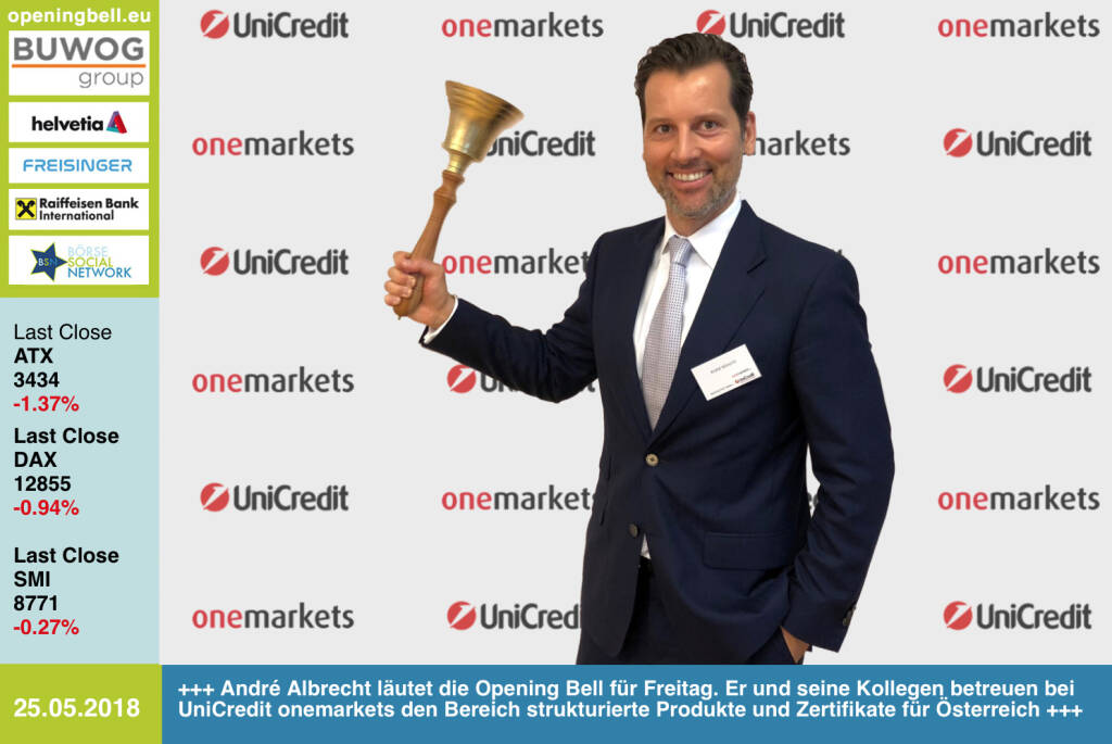 25.5. André Albrecht läutet die Opening Bell für Freitag. Er und seine Kollegen betreuen bei UniCredit onemarkets den Bereich strukturierte Produkte und Zertifikate für Österreich https://www.onemarkets.at/de.html https://www.facebook.com/groups/GeldanlageNetwork/ #goboersewien  (25.05.2018)