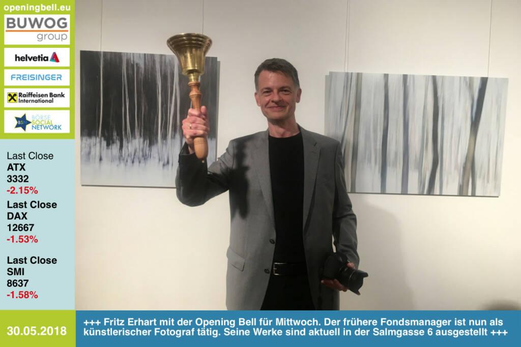 30.5. Fritz Erhart mit der Opening Bell für Mittwoch. Der frühere Fondsmanager ist nun als künstlerischer Fotograf tätig. Seine Werke sind aktuell in der Salmgasse 6 ausgestellt.http://www.friedrich-erhart.comhttps://www.facebook.com/groups/GeldanlageNetwork/ #goboersewien (30.05.2018)