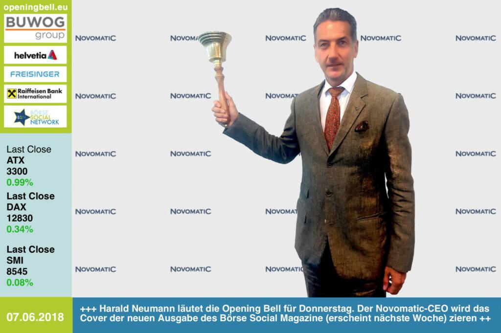 7.6.: Harald Neumann läutet die Opening Bell für Donnerstag. Der Novomatic-CEO wird das Cover der neuen Ausgabe des Börse Social Magazine (erscheint nächste Woche) zieren http://www.novomatic.com http://www.boerse-social.com/magazine https://www.facebook.com/groups/GeldanlageNetwork/ #goboersewien (07.06.2018)