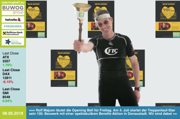 8.6.: Rolf Majcen läutet die Opening Bell für Freitag. Am 4. Juli nimmt der Treppenlauf-Star sein 100. Bauwerk mit einer spektakulären Benefiz-Aktion in Donaustadt in Anlauf. Wir sind dabei. Mit der CD-Aktion Kapitalmarkt für Licht ins Dunkel  https://www.rolf-majcen.com/licht-ins-dunkel/ https://www.facebook.com/groups/Sportsblogged