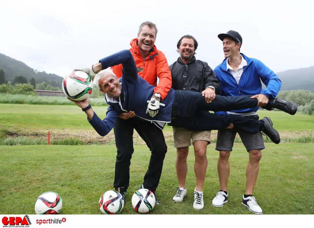 """Das """"Mr Green Sportwetten""""-Team mit Armin Assinger, Claus Breulmann, Michael Konsel und Stefan Thurnbichler beim Charity-Golfen für die Sporthilfe; Photo: GEPA pictures/ Andreas Pranter, © Aussendung (10.06.2018)"""