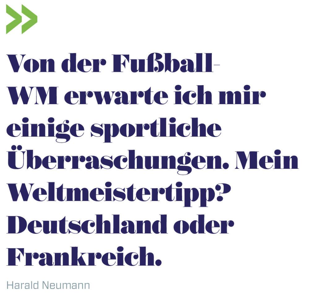 Von der Fußball-WM erwarte ich mir einige sportliche Überraschungen. Mein Weltmeistertipp? Deutschland oder Frankreich.   Harald Neumann (13.06.2018)