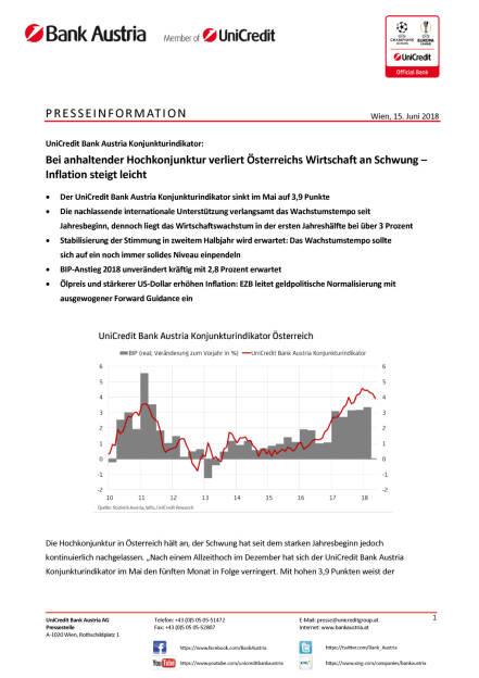 Bei anhaltender Hochkonjunktur verliert Österreichs Wirtschaft an Schwung, Seite 1/5, komplettes Dokument unter http://boerse-social.com/static/uploads/file_2424_.pdf (15.06.2018)