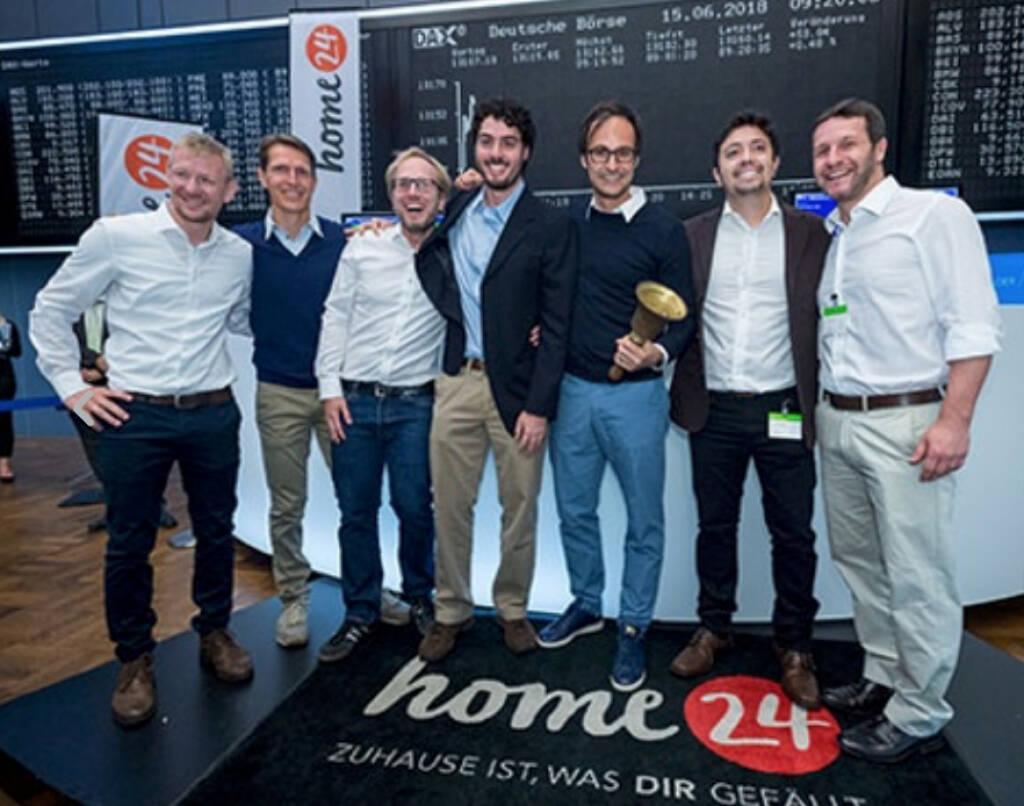 IPO von home24 an der Deutschen Börse am 15. Juni 2018; as Online-Möbelhaus notiert im Prime Standard und erzielte einen ersten Börsenpreis von 28,50 Euro nach einem Ausgabepreis von 23,00 Euro. Bild: deutsche-boerse.com (18.06.2018)