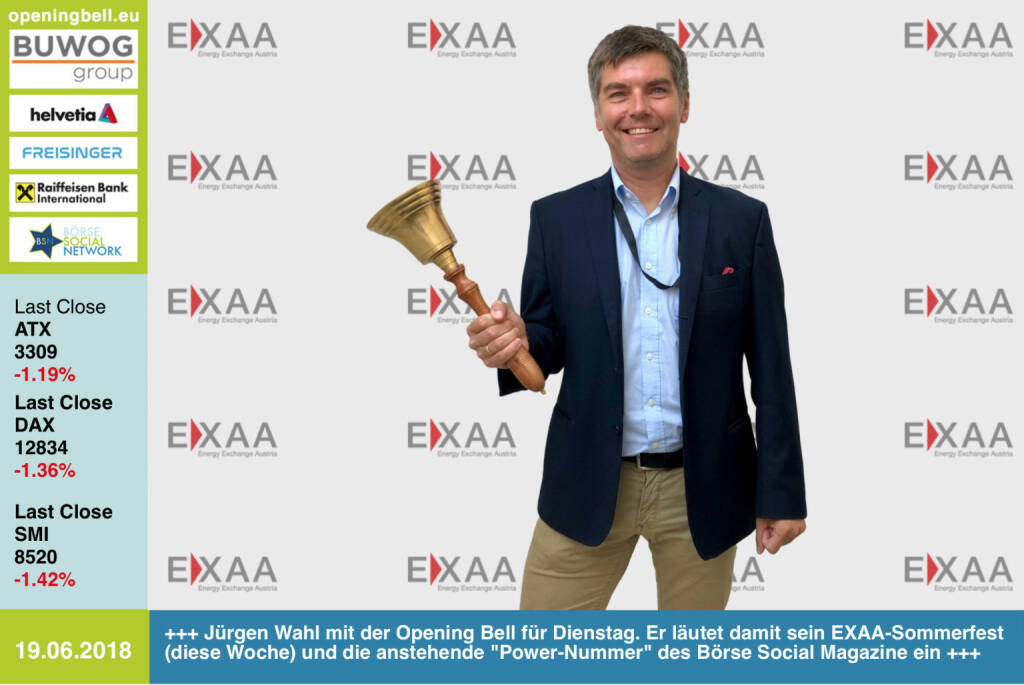 19.6.: Jürgen Wahl mit der Opening Bell für Dienstag. Er läutet damit sein EXAA-Sommerfest (findet diese Woche satt) und die in Produktion befindliche Power-Nummer des Börse Social Magazine ein https://www.exaa.at/ http://www.boerse-social.com/magazine https://www.facebook.com/groups/GeldanlageNetwork/ #goboersewien (19.06.2018)