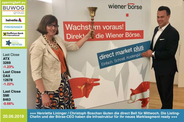 20.6.: Henriette Lininger und Christoph Boschan läuten eine direct Opening Bell für Mittwoch. Die Listing-Chefin und der Börse-CEO haben die Infrastruktur für ihr neues Marktsegment ready, siehe https://www.boerse-social.com/2018/06/19/die_positive_ungeduld_von_christoph_boschan_und_ein_grundsatzliches_borse-yes_von_den_oekostrom-eigner_gabb http://www.wienerborse.at https://www.facebook.com/groups/GeldanlageNetwork/#goboersewien
