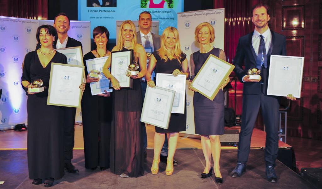 Die Sieger der European Health & Spa Awards 2018: v.l.n.r.: Diana Sicher-Fritsch (MentalSpa-Hotel Fritsch am Berg, A), Florian Perteneder / Silent Spa (Therme Laa a.d. Thaya, A), Paola Orlandini (Terme di Sirmione, IT), Angelika Baur-Schermbach (FACE & BODY Day Spa, D), Daniel Lathan (SONAMI AG) Natascha Sagorski (Lefay Resort & SPA Lago di Garda) Andrea Csics (Lanserhof, A), Fabian Franz (Vitalis Dr. Joseph, IT)Copyright: Agency for Health & Wellness / bakography, © Aussendung (23.06.2018)