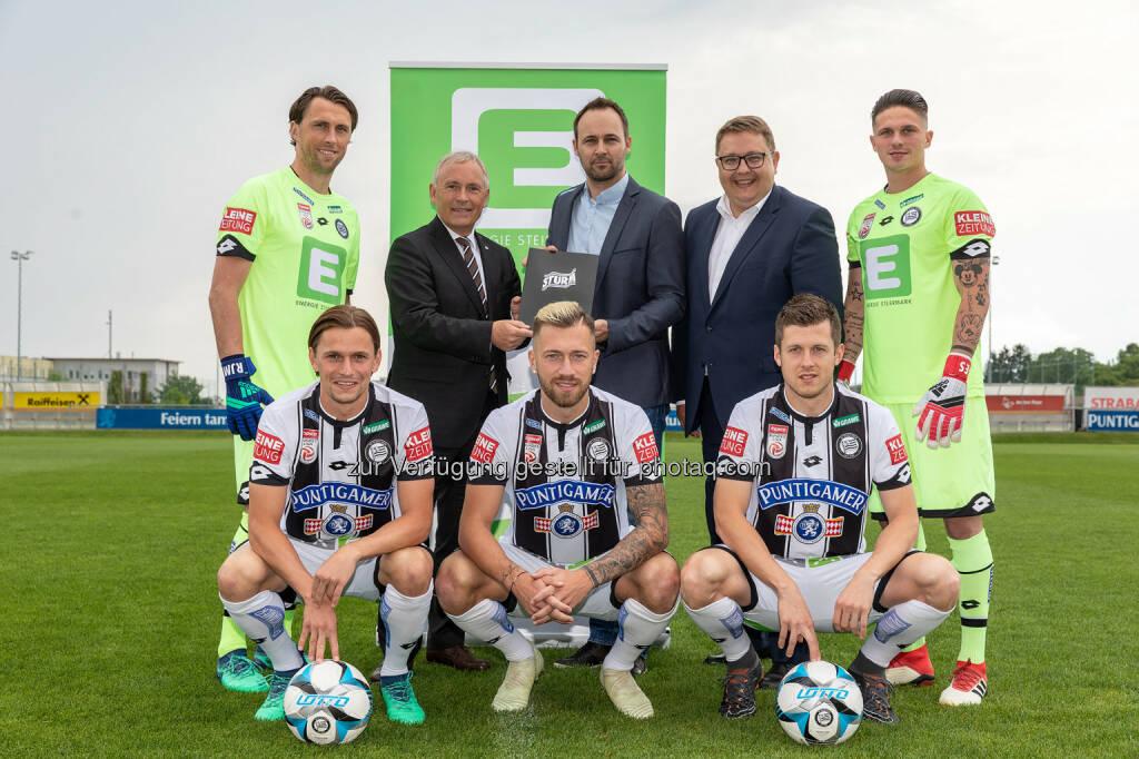 Energie Steiermark AG: Neuer Vertrag: Energie Steiermark bis 2021 Sponsorpartner des SK Sturm Graz, unter anderem Gratzei, Zulj, Alar (Bild: SYMBOL/Energie Steiermark), © Aussendung (27.06.2018)