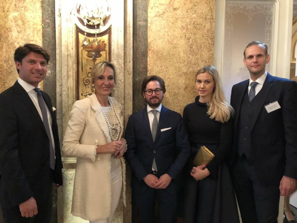 Georg Rosenthal, Isabella De Krassny, Maximilian und Julia Kneussl, Alexander Senk; Bild: www.familyofficeday.at (02.07.2018)