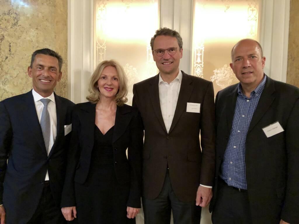Jürg Kallay (Swissprivate AG Zürich), Sabine Duchaczeck, Nicolai von Engelhardt (Co-Investor AG Zürich), Gregory Gettinger (Gettinger Family Fund), Bild: www.familyofficeday.at (02.07.2018)