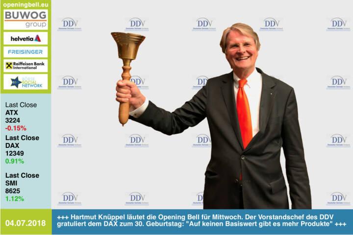 4.7.; Hartmut Knüppel läutet die Opening Bell für Mittwoch. Der Vorstandschef des Deutschen Derivate Verbands (DDV) gratuliert dem DAX zum 30. Geburtstag:  Auf keinen Basiswert gibt es mehr Produkte http://derivateverband.de #30JahreDAX https://www.facebook.com/groups/GeldanlageNetwork/#goboersewien