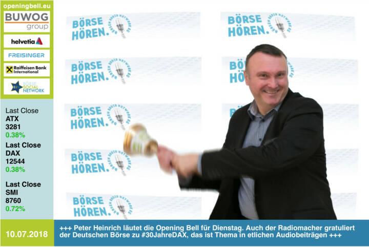 10.7. : Peter Heinrich läutet die Opening Bell für Dienstag. Auch der Radiomacher gratuliert der Deutschen Börse zu #30JahreDAX, das ist Thema in etlichen Audiobeiträgen http://www.boersenradio.at   https://www.facebook.com/groups/GeldanlageNetwork /#goboersewien