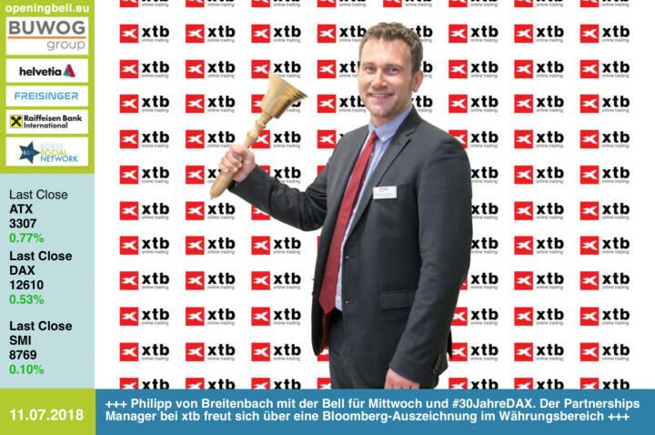 11.7. : Philipp von Breitenbach läutet die Opening Bell für Mittwoch und #30JahreDAX. Der Partnerships Manager bei xtb freut sich über eine Bloomberg-Auszeichnung im Währungsbereich. Mehr dazu heute im http://www.boerse-social.com/gabb http://www.xtb.de https://www.facebook.com/groups/GeldanlageNetwork /#goboersewien