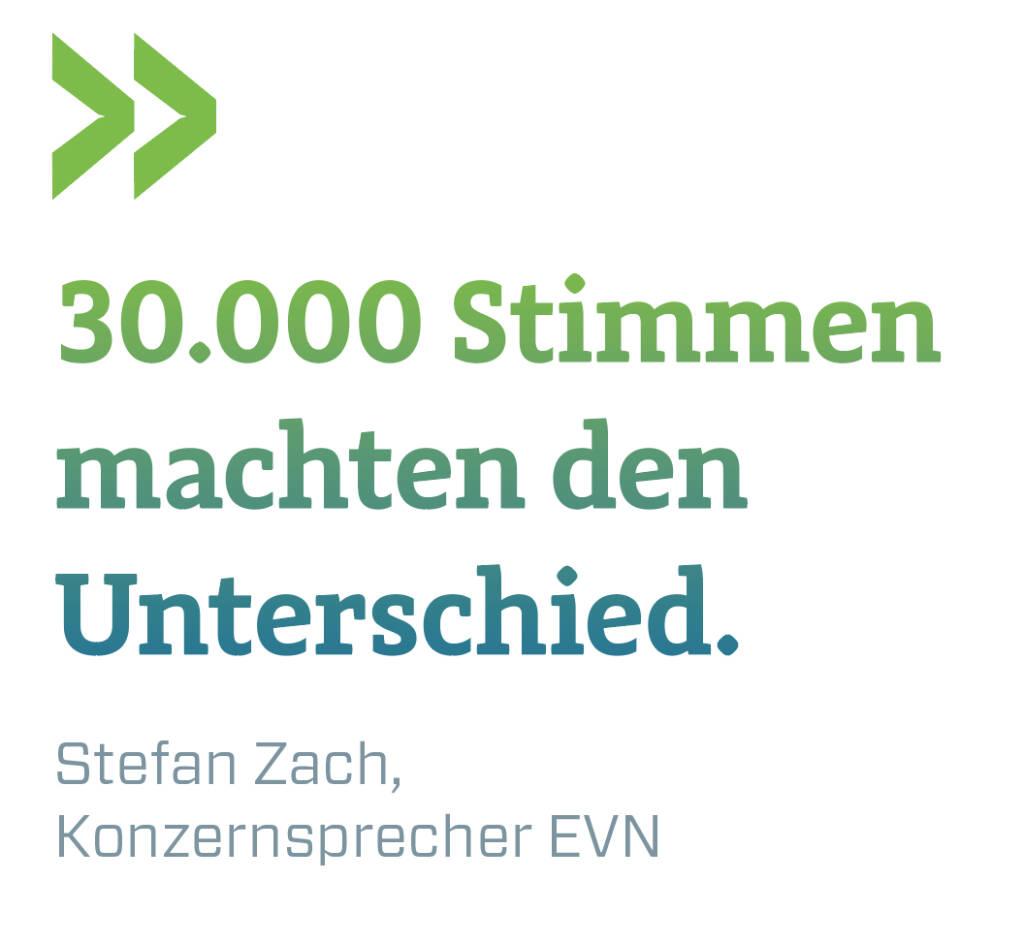30.000 Stimmen machten den Unterschied. Stefan Zach, Konzernsprecher EVN (11.07.2018)