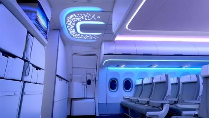 FACC: Entrance Area - A320 Airspace Cabin - neben den XL Bins und Deckenpaneelen entwickelt und fertigt FACC auch die Entrance Area der neuen Airspace Kabine für die A320 Familie. Fotorechte: © FACC/Airbus