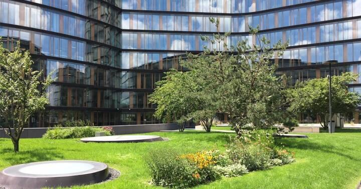 Erste Group Campus, Sommer, Garten, grün; Quelle: LinkedIn