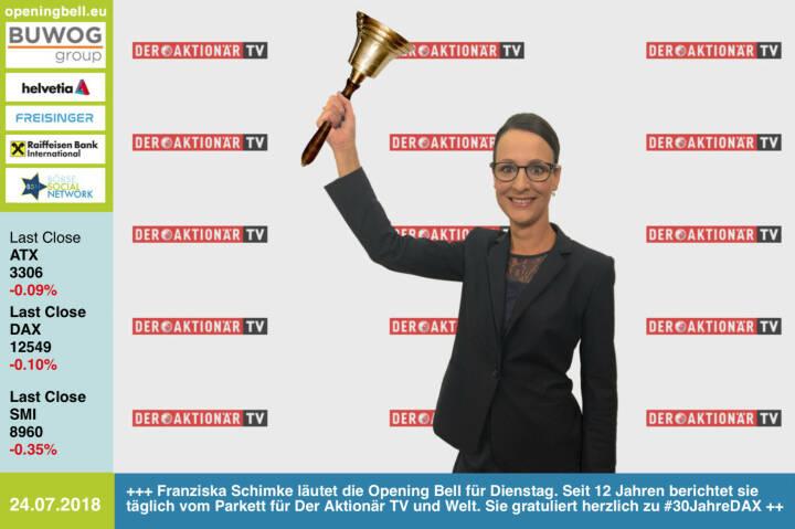 24.7.: Franziska Schimke läutet die Opening Bell für Dienstag. Seit 12 Jahren berichtet sie täglich vom Parkett für Der Aktionär TV und Welt und gehört zu den bekannten Börsengesichtern im deutschen Fernsehen. Wunsch anlässlich #30JahreDAX: Ein munteres Auf und Ab, damit wir weiter fleissig berichten können. Einbahnstrasse sind schnell zu langweilig http://www.deraktionar.tv  https://www.facebook.com/groups/GeldanlageNetwork/#goboersewien