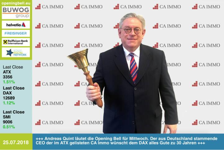 25.7.: Andreas Quint läutet die Opening Bell für Mittwoch. Auch der aus Deutschland stammende CEO der im ATX gelisteten CA Immo wünscht dem DAX alles Gute zu 30 Jahren #30JahreDAX http://www.caimmo.com https://www.facebook.com/groups/GeldanlageNetwork /#goboersewien