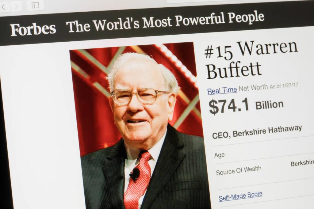 Warren Buffet, CEO Berkshire Hathaway - https://de.depositphotos.com/144790241/stock-photo-riga-latvia-february-24-2017.html, &copy; <a href=