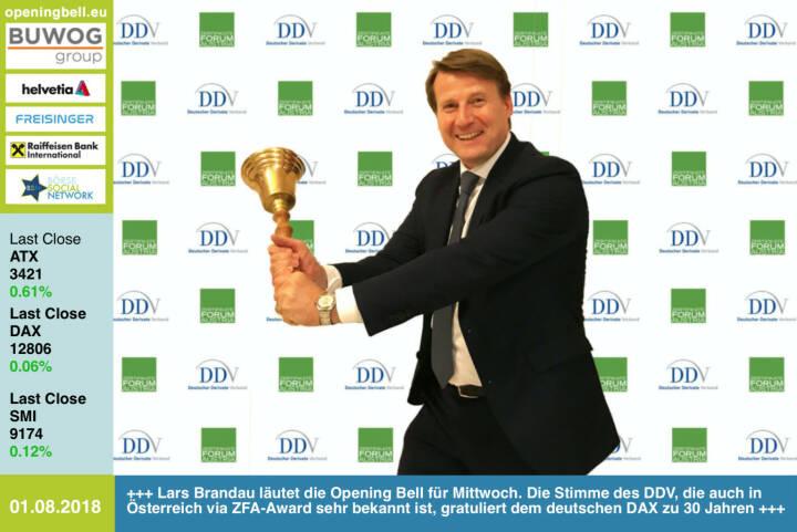 1.8.: Lars Brandau läutet die Opening Bell für Mittwoch. Die Stimme des DDV, die auch in Österreich via ZFA-Award sehr bekannt ist, gratuliert dem deutschen DAX zu 30 Jahren http://derivateverband.de #30JahreDAX https://www.facebook.com/groups/GeldanlageNetwork/#goboersewien