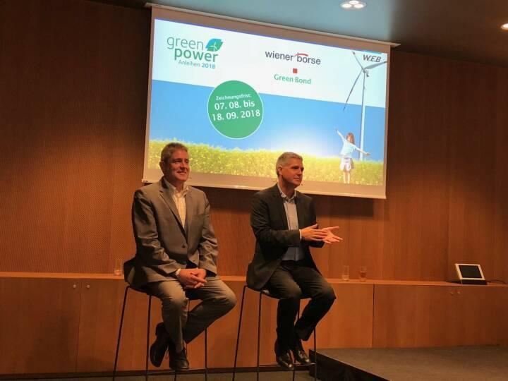 W.E.B-Roadshow am Erste Campus: Vorstände Frank Dumeier (CEO), Michael Trcka (CFO), Bild: beigestellt