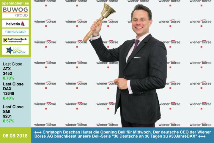 8.8.: Christoph Boschan läutet die Opening Bell für Mittwoch. Der deutsche CEO der Wiener Börse AG beschliesst unsere Bell-Serie 30 Deutsche an 30 Tagen zu #30JahreDAX http://www.wienerborse.at https://www.facebook.com/groups/GeldanlageNetwork #goboersewien
