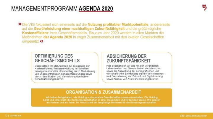 VIG Unternehmenspräsentation - Agenda 2020