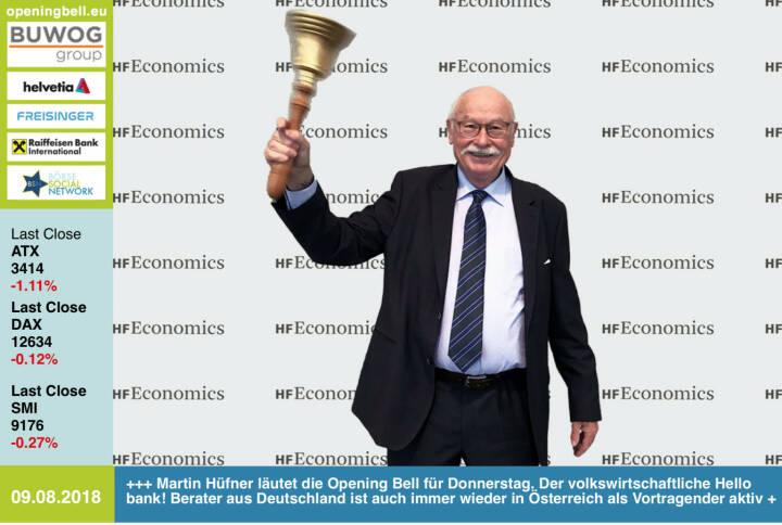9.8.: Martin Hüfner läutet die Opening Bell für Donnerstag. Der volkswirtschaftliche Hello bank! Berater aus Deutschland ist auch immer wieder in Österreich als Vortragender aktiv #30JahreDAX