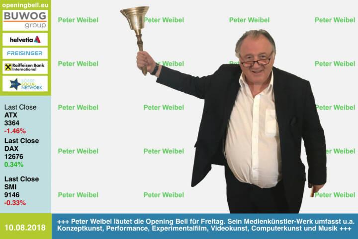 10.8.: Peter Weibel läutet die Opening Bell für Freitag. Sein Medienkünstler-Werk umfasst u.a. Konzeptkunst, Performance, Experimentalfilm, Videokunst, Computerkunst und Musik (Hotel Morphila Orchester)