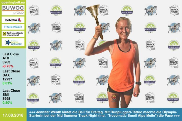 17.8.: Jennifer Wenth läutet die Opening Bell für Freitag. Mit  Runplugged-Tattoo machte die Olympia-Starterin bei der Mid Summer Track Night (incl. Novomatic Smeil Alps 2018 Meilenlauf) die Pace. Jenni bietet u.a. Lauftraining für Firmen an https://www.jennifer-wenth.com/lauftraining/ https://www.facebook.com/groups/Sportsblogged http://www.smeil-award.com