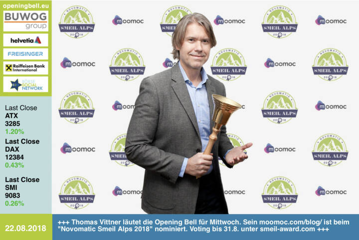 22.8.: Thomas Vittner läutet die Opening Bell für Mittwoch. Sein https://www.moomoc.com/blog/ ist beim Novomatic Smeil Alps 2018 nominiert. Voting bis 31.8. unter http://www.smeil-award.com https://www.facebook.com/groups/GeldanlageNetwork  #goboersewien