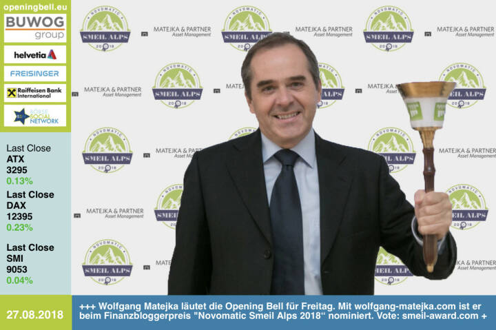 """27.8.: Wolfgang Matejka läutet die Opening Bell für Montag. Mit http://www.wolfgang-matejka.com ist er beim Finanzbloggerpreis Novomatic Smeil Alps 2018"""" nominiert (und wurde in den Vorjahren bereits mehrfach ausgezeichnet). Vote: http://www.smeil-award.com https://www.facebook.com/groups/GeldanlageNetwork #goboersewien"""