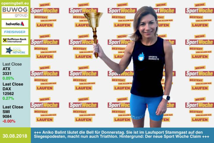 30.8.: Aniko Balint läutet die Opening Bell für Donnerstag. Sie ist im Laufsport Stammgast auf den Siegespodesten, macht nun auch Triathlon. Wall-Hintergrund: Der neue Sport Woche Claim (jede Sportart einsetzbar und als Shirt verfügbar)   https://www.facebook.com/groups/Sportsblogged http://www.runplugged.com