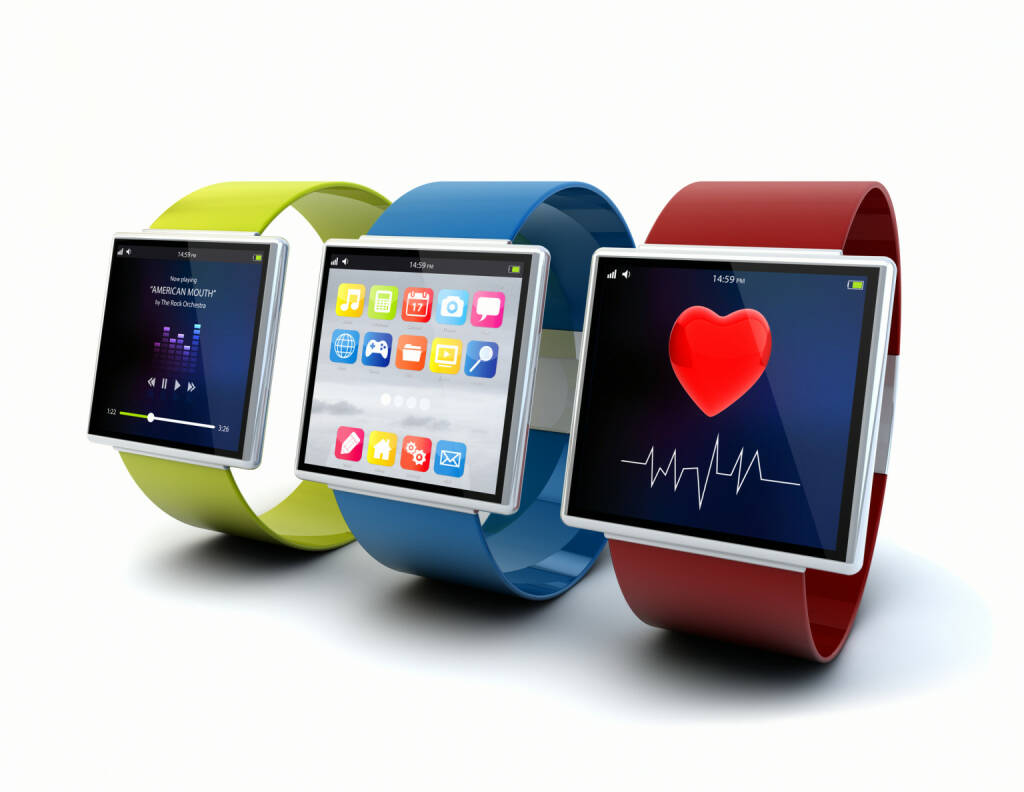 Wearable Devices, Apps, Puls, Pulsuhr - https://de.depositphotos.com/56542513/stock-photo-apps-on-wearables.html, &copy; <a href=