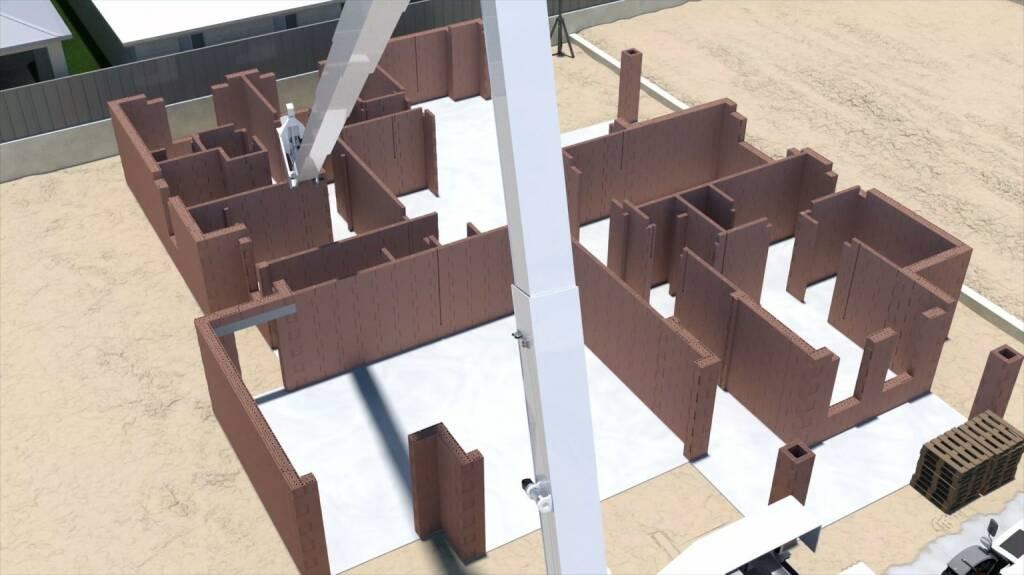 Wienerberger AG und Fastbrick Robotics Limited wollen auf Basis der Hadrian X-Technologie Lösungen entwickeln, mit denen Wohnraum schneller und günstiger realisiert werden kann. Credit: Fastbrick Robotics Limited, © Aussendung (05.09.2018)