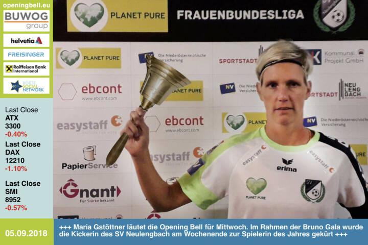5.9.: Maria Gstöttner läutet die Opening Bell für Mittwoch. Im Rahmen der Bruno Gala wurde die Kickerin des SV Neulengbach am Wochenende zur Spielerin des Jahres gekürt https://www.facebook.com/groups/Sportsblogged http://www.runplugged.com