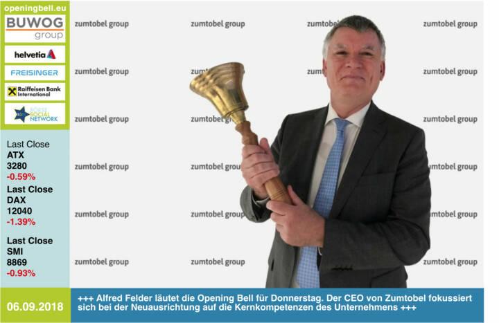 6.9.: Alfred Felder läutet die Opening Bell für Donnerstag. Der CEO von Zumtobel  fokussiert sich bei der Neuausrichtung auf die Kernkompetenzen des Unternehmens http://zumtobelgroup.com https://www.facebook.com/groups/GeldanlageNetwork