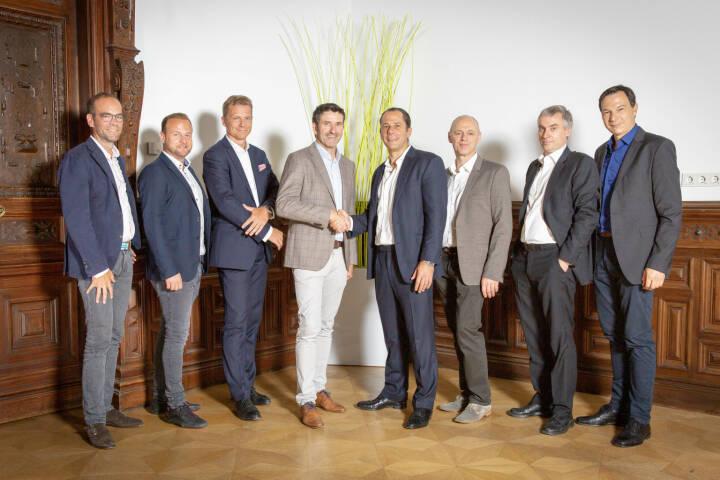 Intact GmbH: IMCap übernimmt Mehrheit an SaaS Softwareanbieter Intact; Jens Weiss, Erwin Wassler, Lars Hensen, Thomas Lorber, Frank Gleitz, Franz Rauch, Rolf Menne, Peter Krainer; Fotocredit: Michael Beck