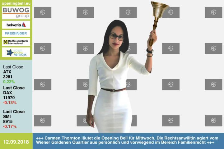 12.9.: Carmen Thornton läutet die Opening Bell für Mittwoch. Die Rechtsanwältin agiert vom Wiener Goldenen Quartier aus persönlich und vorwiegend im Bereich Familienrecht www.thornton-law.at https://www.facebook.com/groups/GeldanlageNetwork