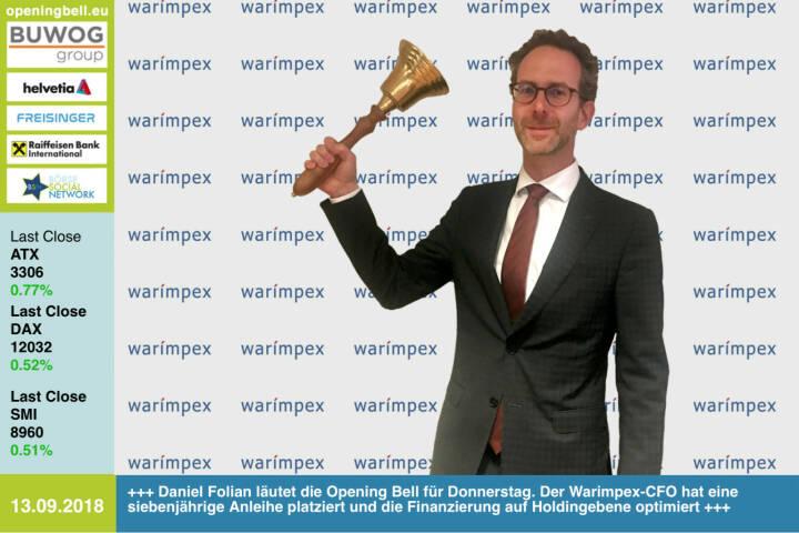 13.9. Daniel Folian läutet die Opening Bell für Donnerstag. Der Warimpex-CFO hat eine siebenjährige Anleihe platziert und die Finanzierung auf Holdingebene optimiert .http://www.warimpex.at https://www.facebook.com/groups/GeldanlageNetwork