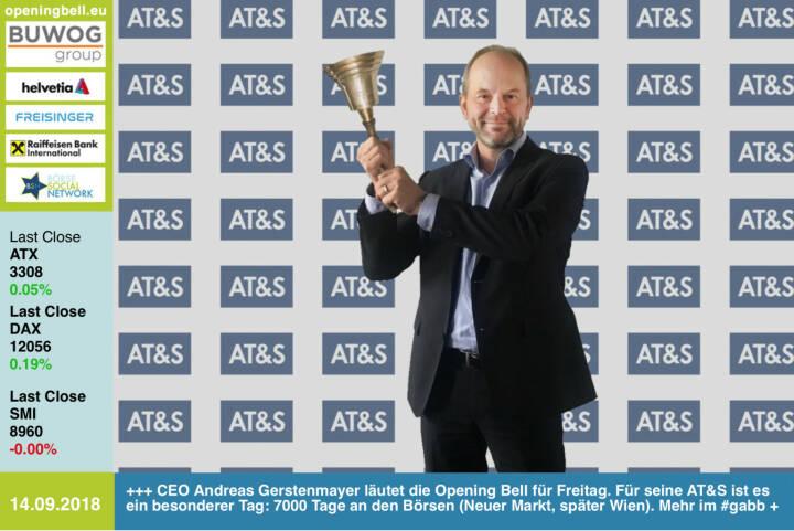 14.9.: CEO Andreas Gerstenmayer läutet die Opening Bell für Freitag. Für seine AT&S ist es ein besonderer Tag: 7000 Tage an den Börsen (erst Neuer Markt, später Wien). Weil die Performance und sämtliche handelsrelevanten Daten stark sind, gibt es dazu eine Auszeichnung. Mehr dazu im #gabb http://www.boerse-social.com/gabb https://ats.net/de/ https://www.facebook.com/groups/GeldanlageNetwork