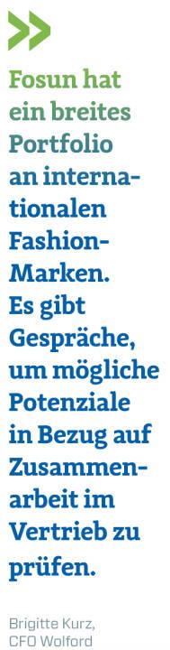 Fosun hat ein breites Portfolio an internationalen Fashion-Marken. Es gibt Gespräche, um mögliche Potenziale in Bezug auf Zusammenarbeit im Vertrieb zu prüfen.  Brigitte Kurz, CFO Wolford