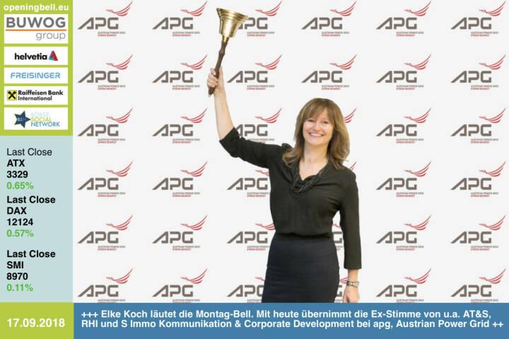 17. 9.: Elke Koch läutet die Opening Bell für Montag. Mit heute übernimmt die Ex-Stimme von u.a. AT&S, RHI und S Immo den Bereich Kommunikation & Corporate Development bei apg, Austrian Power Grid http://www.apg.at https://www.facebook.com/groups/GeldanlageNetwork