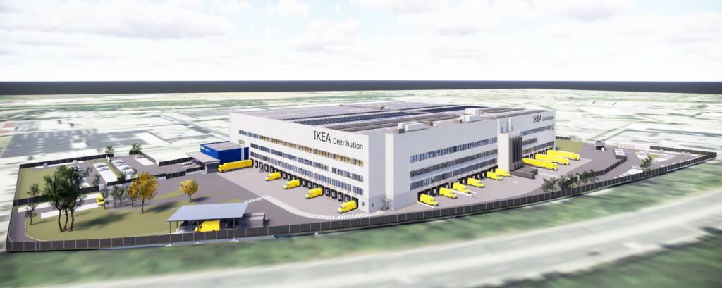 In Strebersdorf entsteht das neue Ikea-Logistikzentrum. Das Möbelhaus investiert in dieses Projekt mehr als 70 Millionen Euro. Schon ab Herbst 2019 sollen von hier aus Ikea-Kunden in ganz Österreich beliefert werden. Credit: Ikea (18.09.2018)