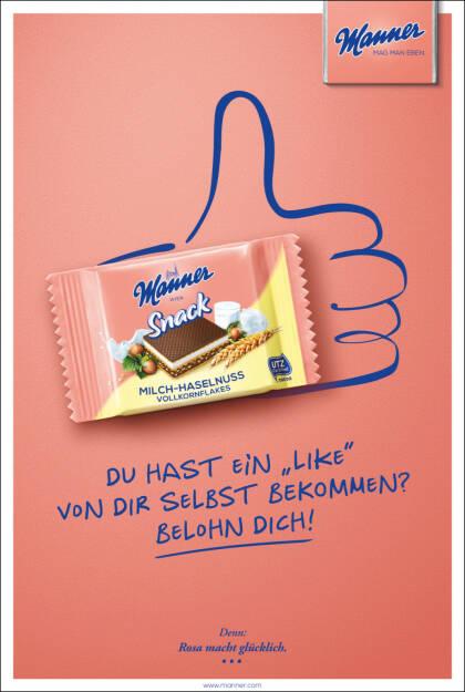 Josef Manner u. Comp. AG: Manner Snack Kampagne 2018, Sujet Social Media, Like, Fotocredit: Manner, © Aussender (18.09.2018)