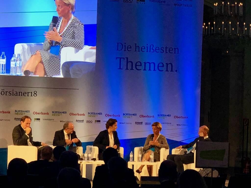 Börsianer Messe 2018: Roundtable mit Valerie Brunner (RCB), Franz Gasselsberger (Oberbank), Christian Keuschnigg, Berndt May, Ingrid Krawarik (Börsianer) (19.09.2018)